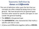 taxonomic definition by genus and differentia