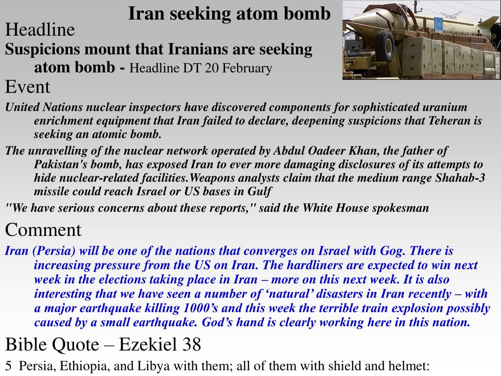 Iran seeking atom bomb