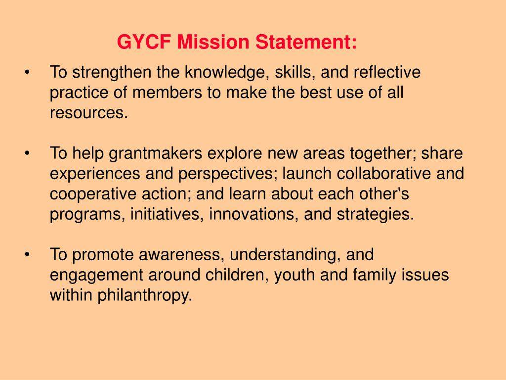 GYCF Mission Statement: