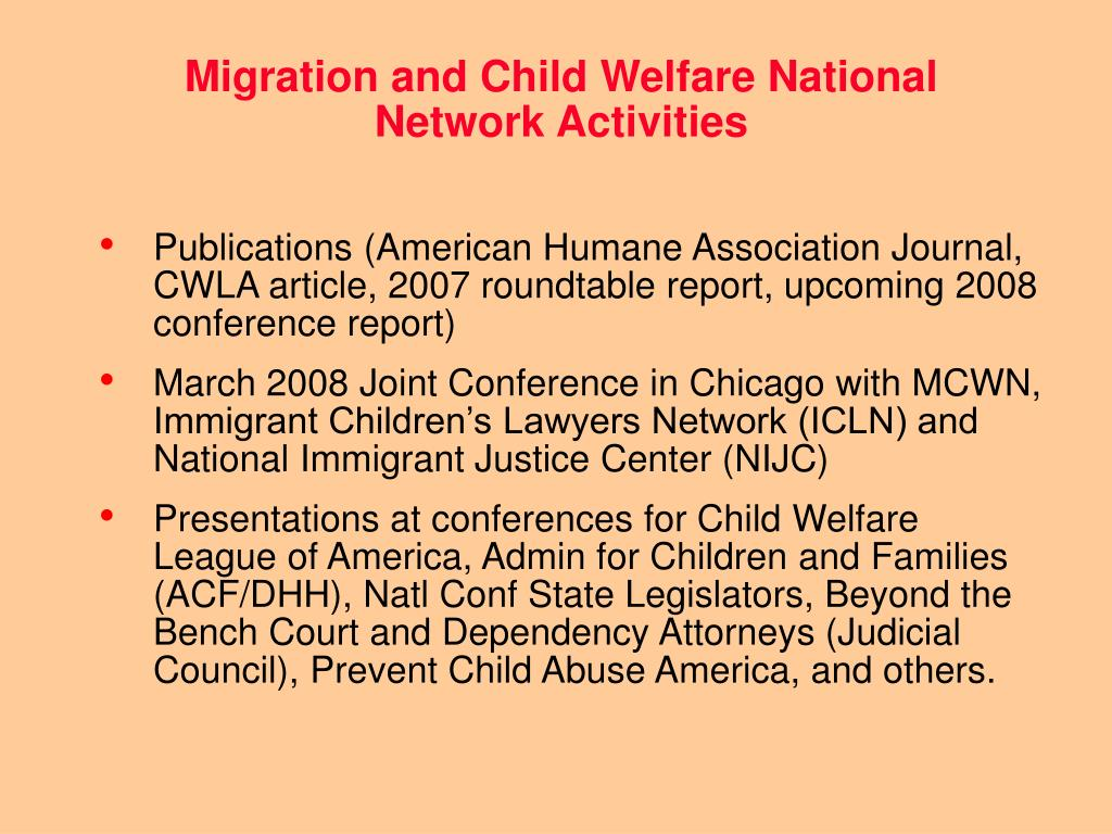 Migration and Child Welfare National Network Activities