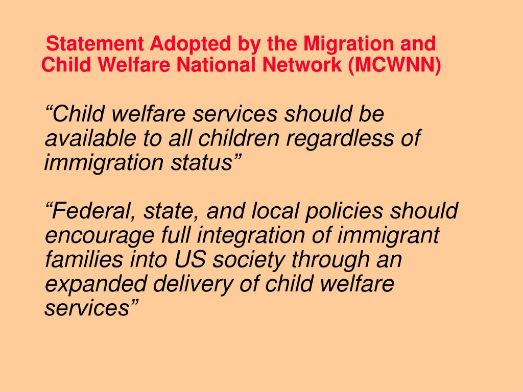 Statement Adopted by the Migration and Child Welfare National Network (MCWNN)