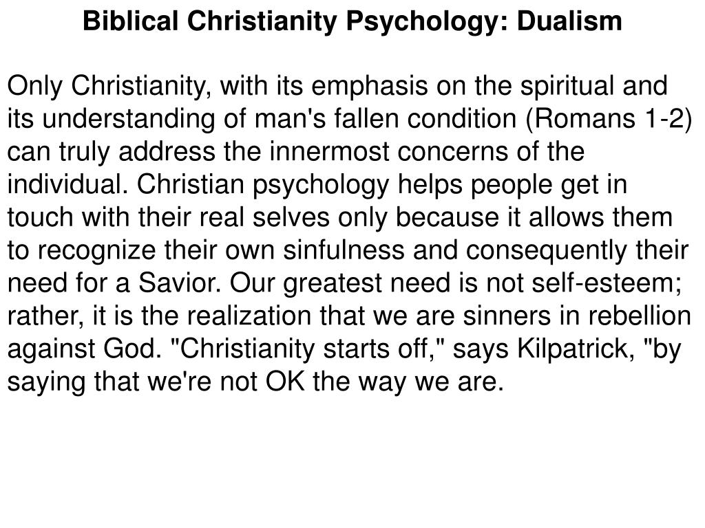 Biblical Christianity Psychology: Dualism