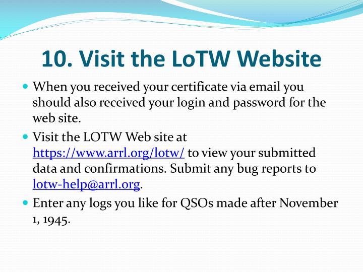 10. Visit the LoTW Website