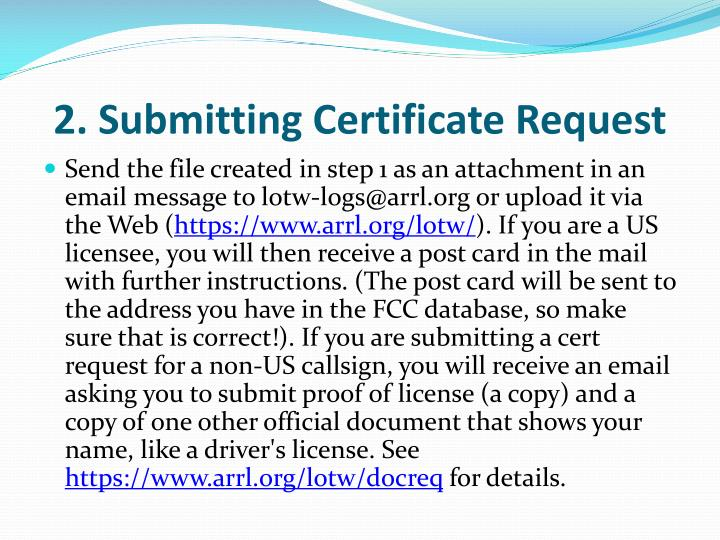2. Submitting Certificate Request