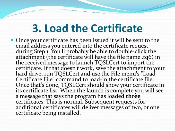 3. Load the Certificate