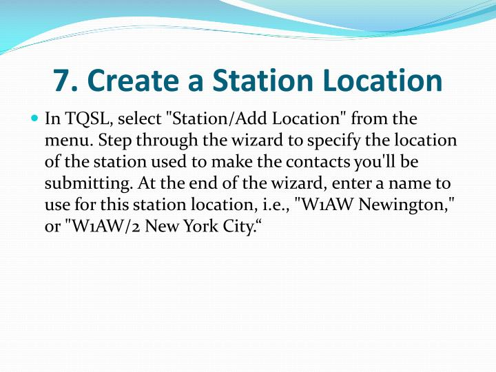 7. Create a Station Location
