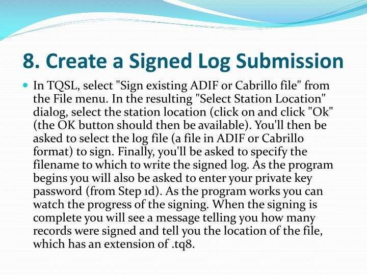 8. Create a Signed Log Submission