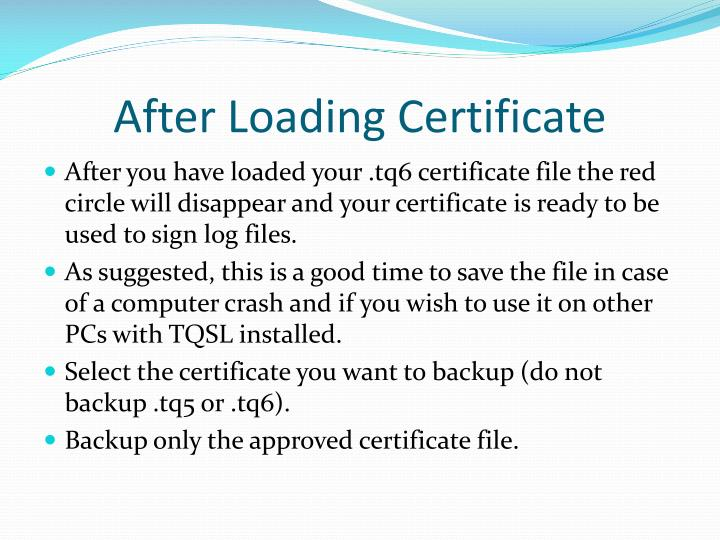 After Loading Certificate