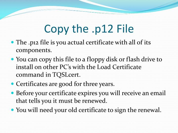Copy the .p12 File