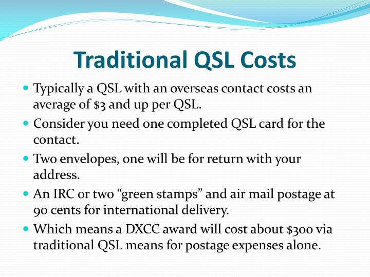 Traditional qsl costs