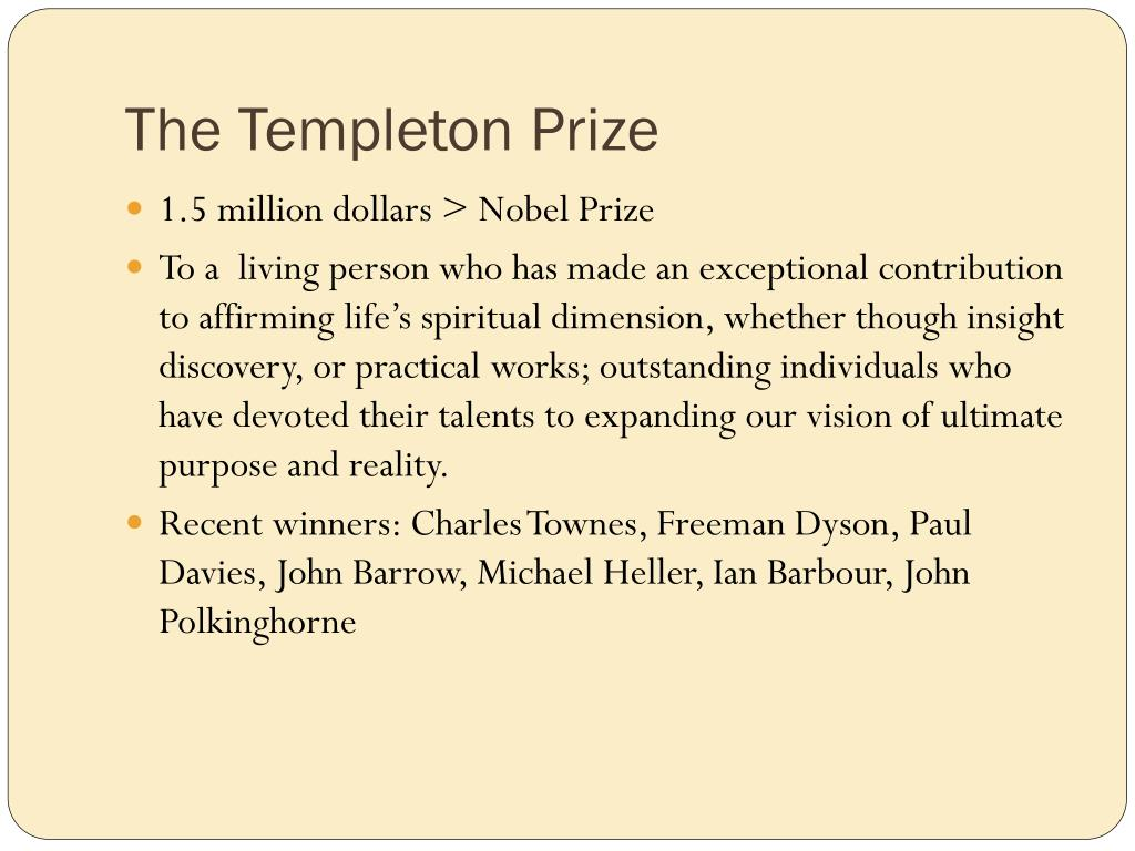 The Templeton Prize