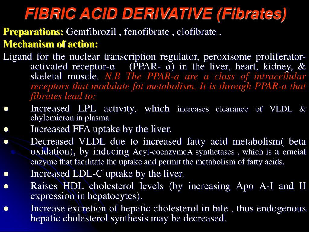 FIBRIC ACID DERIVATIVE (Fibrates)