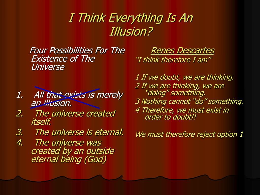 Four Possibilities For The Existence of The Universe