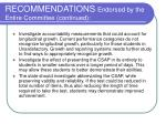 recommendations endorsed by the entire committee continued