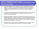recommendations endorsed by the entire committee