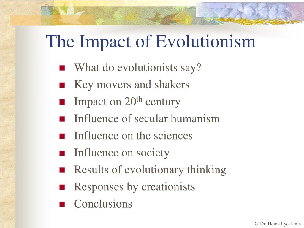 The Impact of Evolutionism