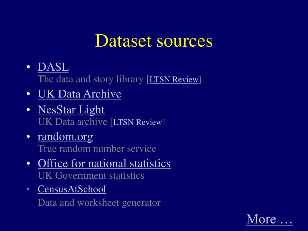 Dataset sources