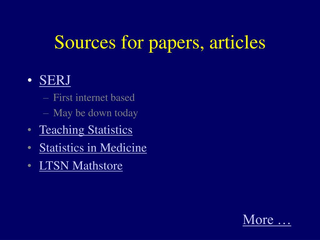 Sources for papers, articles