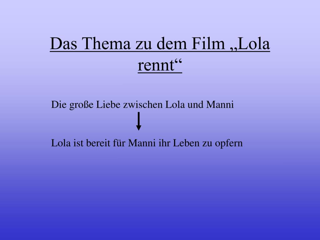 """Das Thema zu dem Film """"Lola rennt"""""""