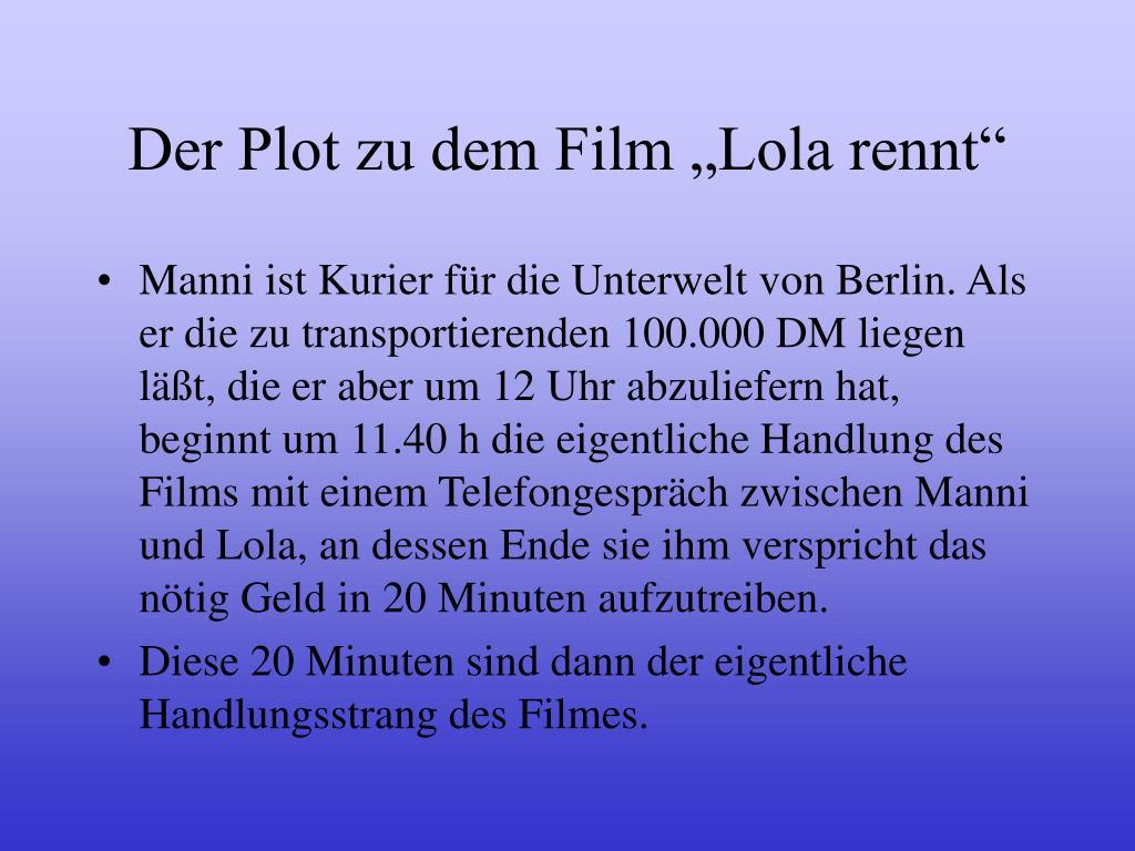 """Der Plot zu dem Film """"Lola rennt"""""""