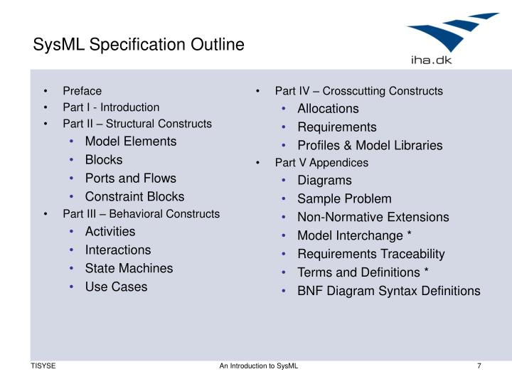 SysML Specification Outline