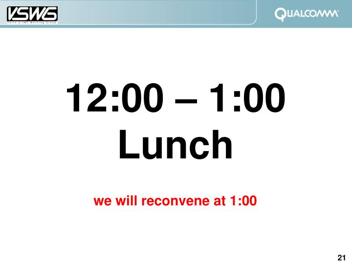 12:00 – 1:00 Lunch