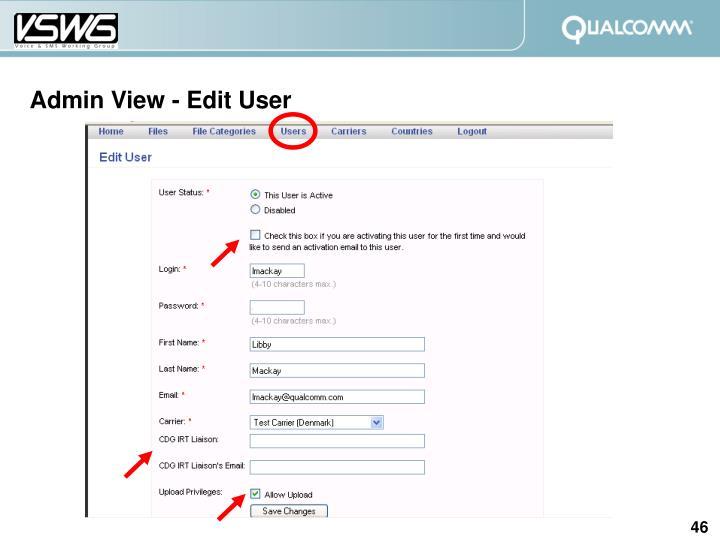 Admin View - Edit User