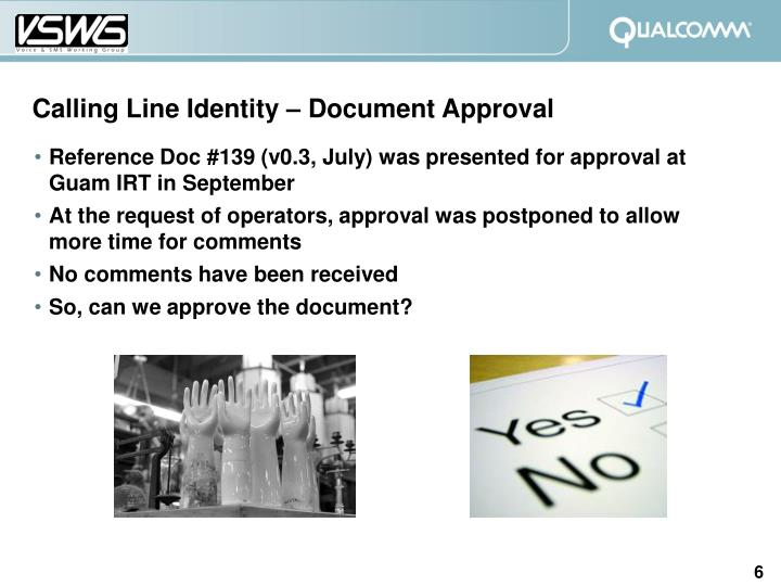 Calling Line Identity – Document Approval
