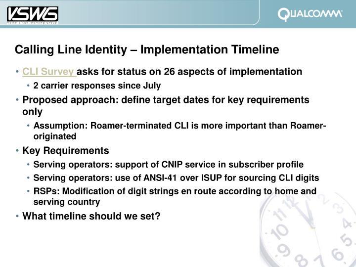 Calling Line Identity – Implementation Timeline