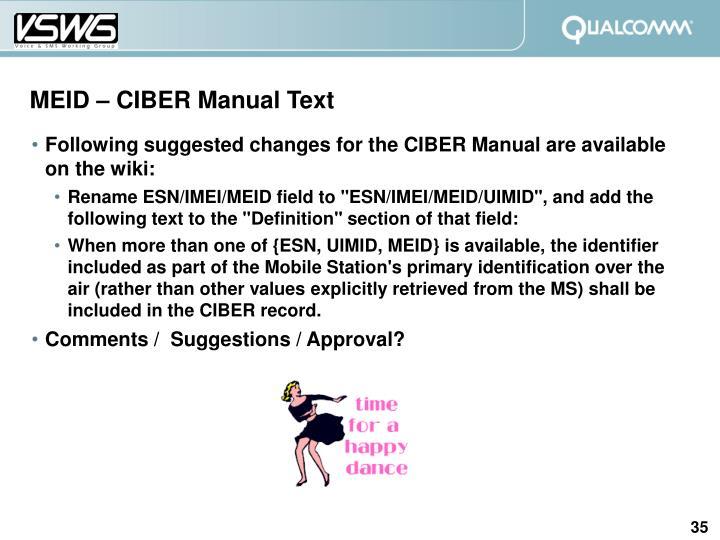 MEID – CIBER Manual Text
