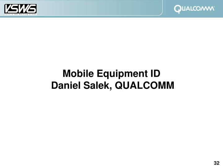 Mobile Equipment ID