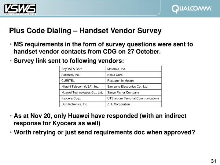 Plus Code Dialing – Handset Vendor Survey