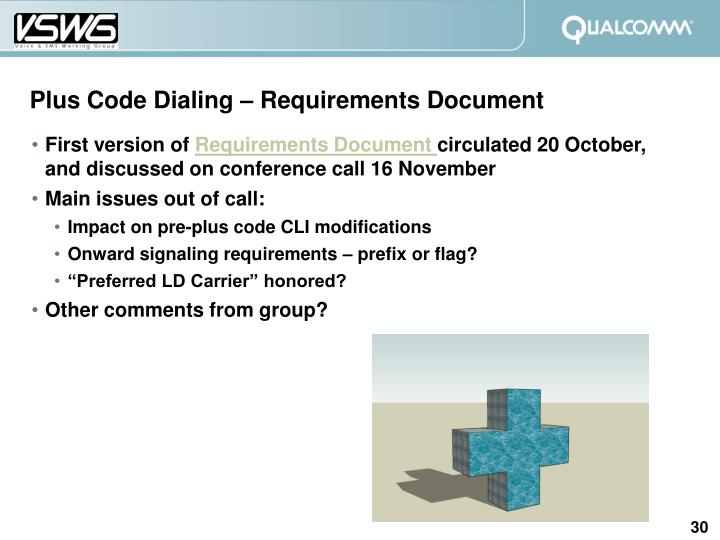 Plus Code Dialing – Requirements Document