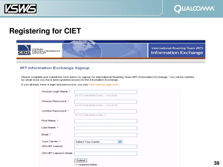 Registering for CIET