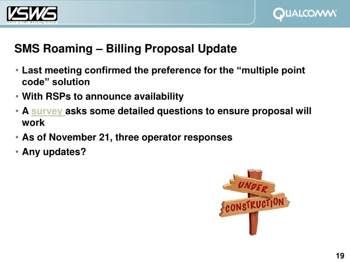SMS Roaming – Billing Proposal Update