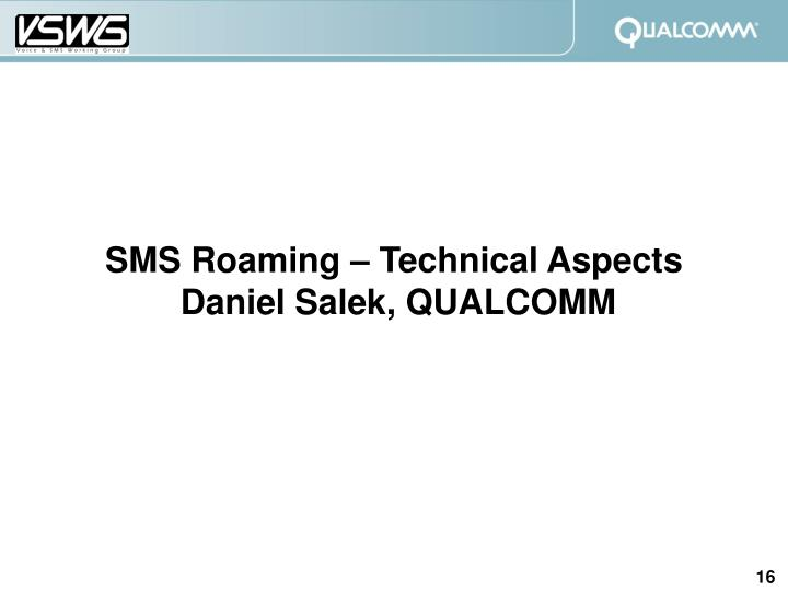 SMS Roaming – Technical Aspects