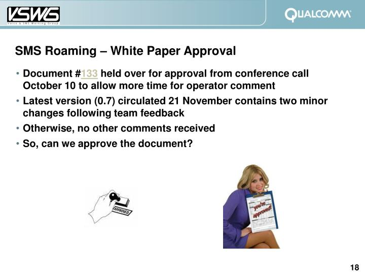 SMS Roaming – White Paper Approval