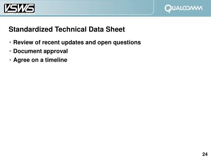 Standardized Technical Data Sheet