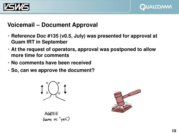 Voicemail – Document Approval