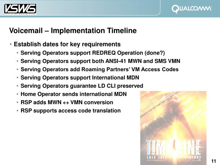 Voicemail – Implementation Timeline