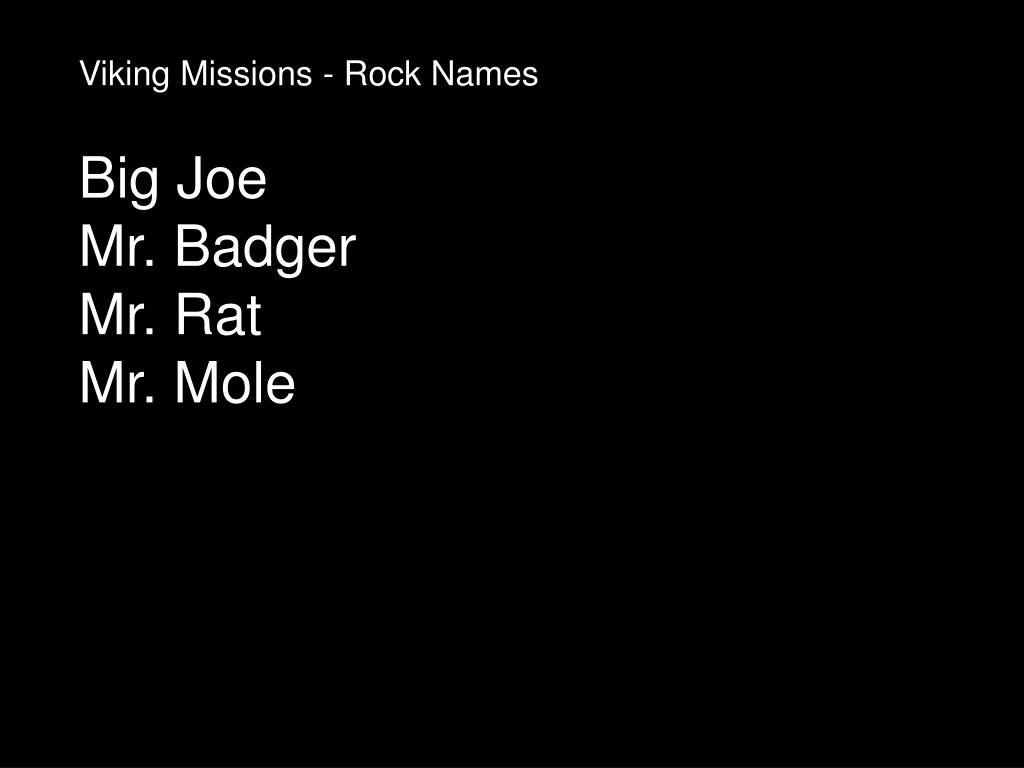 Viking Missions - Rock Names