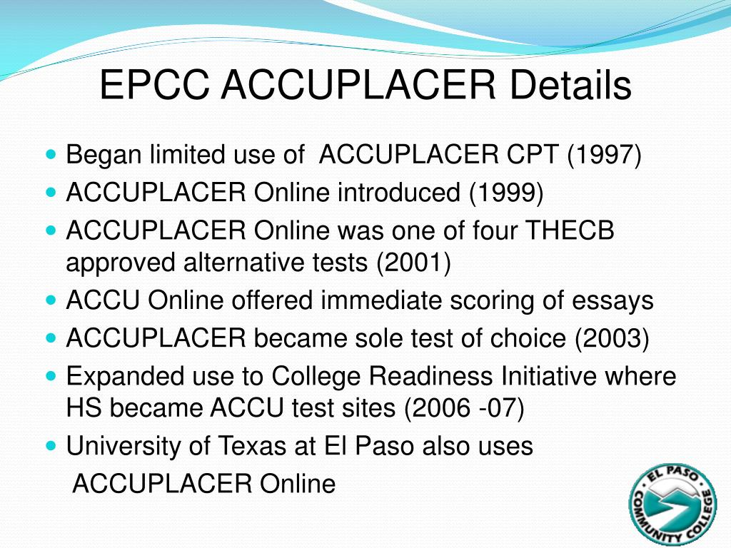 EPCC ACCUPLACER Details