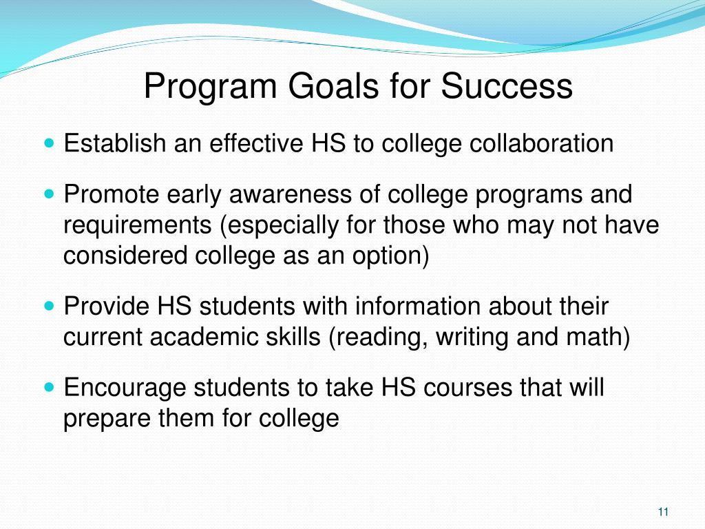 Program Goals for Success