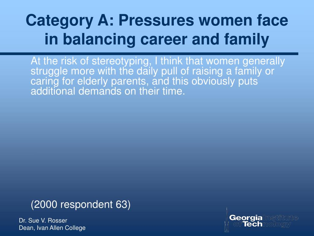 Category A: Pressures women face in balancing career and family