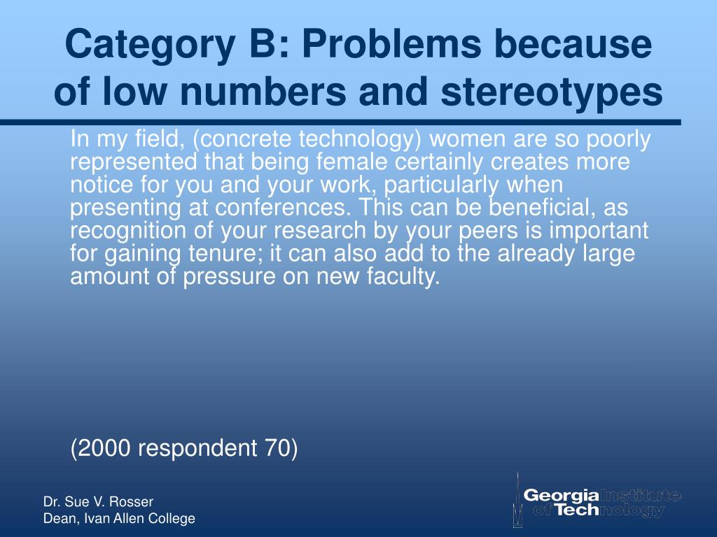 Category B: Problems because of low numbers and stereotypes