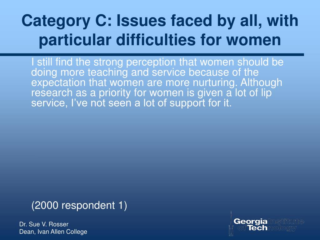Category C: Issues faced by all, with particular difficulties for women