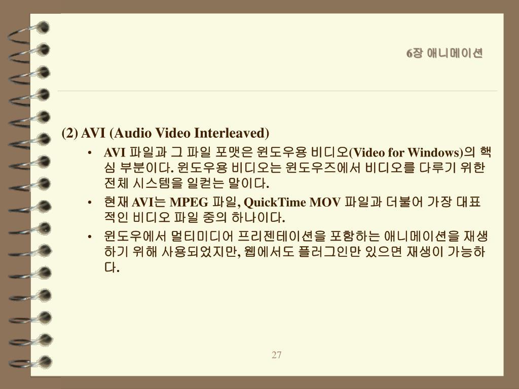 (2) AVI (Audio Video Interleaved)