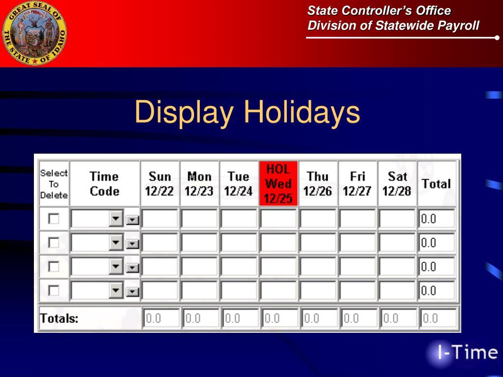 Display Holidays