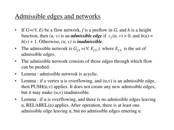 Admissible edges and networks