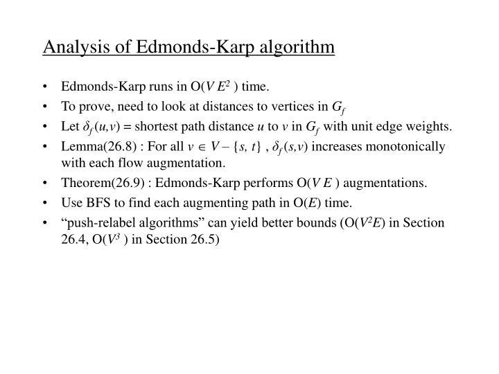 Analysis of Edmonds-Karp algorithm